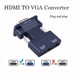 projector rj45 UK - HDMI Female to VGA Male rj45 Converter with Audio Adapter Support 1080P Signal Output for Multimedia PC Laptop TV Monitor Projector