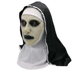 Full Face mask scary online shopping - Halloween Movie The Nun Horror Mask Cosplay Scary Latex Masks Full Face Helmet Makeup Halloween Party Costume Props