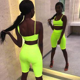 Wholesale Neon Sexy Two Piece Set Crop Top and Biker Shorts Summer Clothes for Women Tracksuit Club Outfits Festival Matching Sets