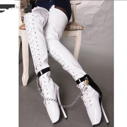Leather fetish women boots online shopping - Hot Sale Sexy Fetish Extreme High Heel Cm Inc Crotch Boots Women White Over Knee Ballet Heels Thin heel Padlocks Chain Long Boots