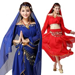 Discount red white blue dance costumes - bellydance costume belly dance dress set for women bra belt skirt bollywood dresses dances dancers dancing clothes stage