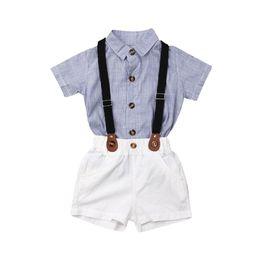 $enCountryForm.capitalKeyWord Australia - Toddler Baby Boy Wedding Christening Tuxedo Formal Gentleman Suit Suspender Pants T-shirts Outfit Clothes Set 2PCS