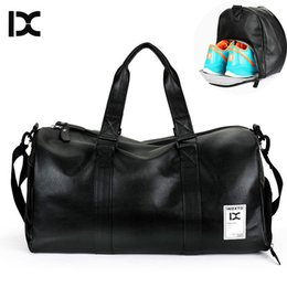 Leather Sport Bags Men Australia - Men's PU Leather Gym Bag Travel Sports Bags Handbags For Fitness Men Women Training Shoulder Sac With Shoes Sac De Sport XA494WA #109977