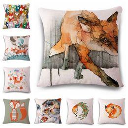 $enCountryForm.capitalKeyWord Australia - Fox Watercolor Hand Cotton Flax Pillow Back Cushion