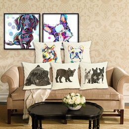 $enCountryForm.capitalKeyWord Australia - 45cm Dog Animal Pattern Cotton Linen Fabric Throw Pillow 18inch Fashion Hotal Office Bedroom Decorate Sofa Chair Cushion
