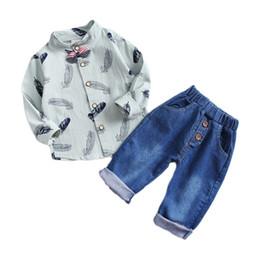 $enCountryForm.capitalKeyWord UK - Spring Autumn Kids Cartoon Lapel Bow Shirt Jeans 2Pcs Sets Baby Boys Girls Gentleman Clothing Children Leisure Suits Infant Sets