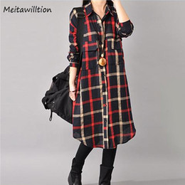 $enCountryForm.capitalKeyWord Australia - Autumn Winter Casual Women Shirt Dress Ladies 3 4 Sleeve Dress Female Loose Linen Plaid Vintage Plus Size Women Clothing