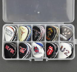 band guitar picks 2019 - Lots of 100Pcs Medium 0.71mm Guitar Picks Rock Bands Bon Jovi U2 Motley Crue ACDC Nirvana LED Zeppelin With box cheap ba