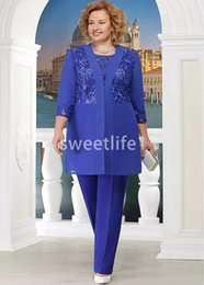 $enCountryForm.capitalKeyWord Australia - 2020 With Jacket Long Sleeve Mother Of The Bride Dresses Lace Appliques Royal Blue Chiffon Mother Of The Bride Suits Formal Evening Dresses