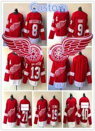 2018 Detroit Red Wings 71 Hockey Jersey 8 Justin Abdelkader 9 Gordie Howe  40 Henrik 19 Steve Yzerman 13 Pavel Datsyuk Jerseys 42c2d3db6