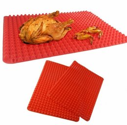 Silicone Microwave Mat Australia - Hot Sale Pyramid Pan Nonstick Silicone Baking Barbecue Mat Microwave Oven Mat Baking Tray 39*27cm BBQ Red Pyramid Kitchen Tools Bakeware