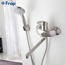 Brass water pipes online shopping - Nickel Brushed Bathroom shower faucet Brass body mixed hot and cold water taps ABS shower head Outlet pipe F2221 F2221