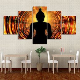$enCountryForm.capitalKeyWord Australia - Framework Wall Art HD Poster Modern 5 Panel Buddha Backlight Zen Home Decor Living Room Canvas Print Painting Modular Pictures