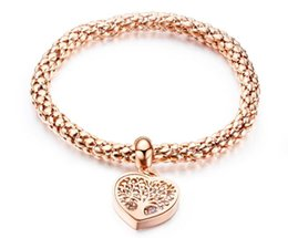 Hollow gold Heart cHains online shopping - Rose Gold Bracelet Luxury designer jewelry women bracelets love heart hollow tree of life stainless steel bangle for ladies
