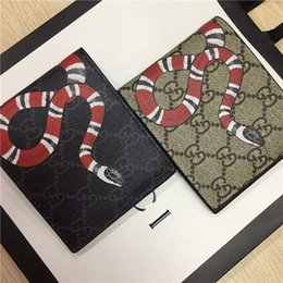 Wolf card online shopping - Designer Tote Wallet Real Genuine Leather Luxury Men Short Wallets for Women Men Snake Bee Tiger Wolf Coin Purse Clutch Bags with Box z4134