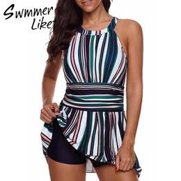 $enCountryForm.capitalKeyWord Australia - Striped Dress Swimming Suit For Women High Neck Swimsuit Female Beach Wear Sexy Bikini 2019 Bathing Suit Plus Size Swimwear New Y19052702