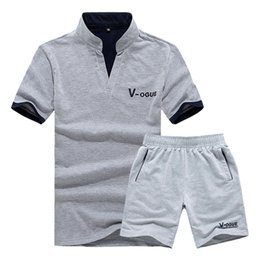 polo sets 2019 - Polo Men T Shirt Short Sleeve Brand Casual Suit TShirt Men Summer Sets Tracksuits Stand Streetwear Tops Tees & Shorts ch