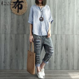 $enCountryForm.capitalKeyWord Australia - 2019 Zanzea Summer V Neck Batwing Hull Women Cotton Linen Strained Shirt Casual Job Blouse Retro Party Top Blusas S -5xl Y19071101