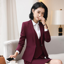 Office Style Suits Australia - 2019 Summer Women Professional Skirt Suits Fashion Slim OL Style Suit Two Piece Lady Office Suits Long Sleeve Blazers and Skirts