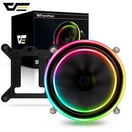 775 fan Australia - omputer & Office darkFlash Shadow PWM CPU Cooler AURA SYNC Cooling Double Ring LED Fan 100mm 3pin+4pin Radiator for LGA 1156 1155 775 TDP...