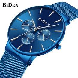 Biden 0047 4 Mens Watch Business Casual Ultra-sottile progettato orologio da orologio da uomo in acciaio inossidabile al quarzo in Offerta