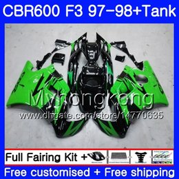 Honda Cbr F3 Fairings Australia - Body green black light+Tank For HONDA CBR 600 FS F3 CBR600RR CBR 600F3 97 98 290HM.16 CBR600 F3 97 98 CBR600FS CBR600F3 1997 1998 Fairings