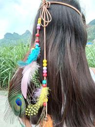 $enCountryForm.capitalKeyWord NZ - New Fashion Adult Hair Band Indian Peacock Feather Pendant Headband Leaves Rope Knitted Belt Elastic Hairwear Headdress