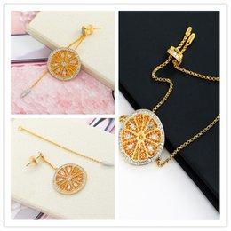 $enCountryForm.capitalKeyWord Australia - Free shipping Fashion sweet orange 925 sterling silver inlay zircon bracelets single earrings suit