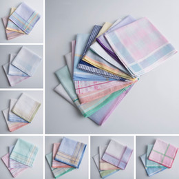 Scarf Square Cotton Australia - Handkerchief 100% Cotton Jacquard Hankerchiefs Plaid Men Pocket Towel Women Square Hankies Boutique Scarf Hankie Latest Designs YW3354