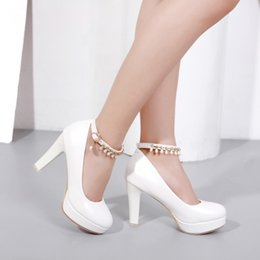 Ankle Chain Pumps NZ - new popular Ankle Strap Platform Round Toe pumps 8cm Chunky high heels women bridal shoes wholesale china
