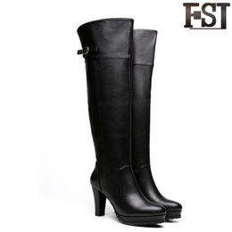 8b7d43c72 FSJ Genuine Leather Ladies Woman Shoes Boots Over-the-Knee High Heel Spike Spring  Autumn Heels Pointed Toe Velvet Platform