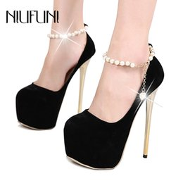 Ankle Chain Pumps NZ - Retro Platform Pumps String Bead Chain Ankle Strap Super High Heeled 16cm Elegant Dress Shoes Nightclub Party Wedding Pumps