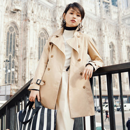 Discount double breasted trench dress - INMAN Women Autumn Dress Solid Color Cotton Lapel Trench Coat