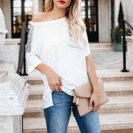 $enCountryForm.capitalKeyWord NZ - Women Summer Loose Sparkly Sequins Pocket Patched Casual Off Shoulder T-Shirt Top Party Tee Shirt Tops