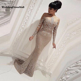 Wholesale Long Sleeve Mermaid Arabic Dubai Woman Evening Dresses Formal Elegant Prom Dress Party Gown abendkleider lang luxus