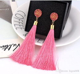 Silk for jewelry online shopping - Bohemian Crystal Tassel Earrings Black White Blue Red Pink Silk Fabric Long Drop Dangle Tassel Earrings For Women Jewelry GB362