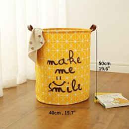 $enCountryForm.capitalKeyWord Canada - Laundry Basket Toy Storage Picnic Basket Box Cotton Washing Clothes Box Baby Orgnizer Bin Make me smile middle size