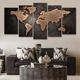 Discount world maps for wall decoration - 5pcs Abstract Posters And Prints Art Canvas Painting Wall Pictures For Living Room Nordic Decoration World Map J190707