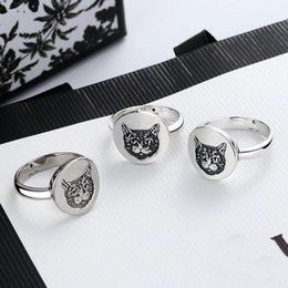 brass plating rings NZ - Europe America Hot Sale Retro Lady Women Brass Silver Plated Engraved Cat Head G Letter Round Disk Rings Size6-8