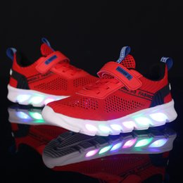 american sports shoes NZ - Summer Children Mesh Lightweight Casual Sports Shoes Fly Woven CHILDREN'S Shoes Colorful Light LED Shining Flashing Light BOY'S