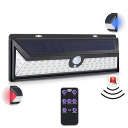 portable security alarm UK - Edison2011 92 LEDs Solar Motion Sensor Alarm Lights with Remote Controller PIR Solar Triangle Wall Lamp Security Solar Garden Lights