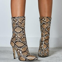 ShoeS for nightclub online shopping - 2019 New Snake Print Ankle Boots For Women Pointed Toe THin High Heels CM Women Zip Boots Nightclub Woman Shoes Plus SIze