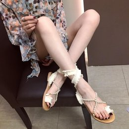 d4a3ccdfccf2 Chic designer thong sandals beige beaded cross strap ankle wrap flat heel  women slides size 35 To 39