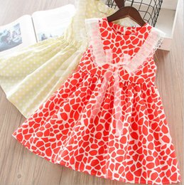Lace Pleated Australia - Girls polka dots dress kids lace-up Bows red leopard grain princess dress children lace embroidery falbala fly sleeve pleated dress F6374