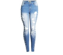 Stretchy Skinny Pants Australia - 2019 New Female Plus Size Stretchy Ripped Jeans Woman Side Distressed Denim Skinny Hole Pencil Pants Trousers For Women J2793