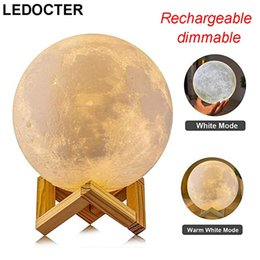 $enCountryForm.capitalKeyWord Australia - Rechargeable 3D Print Led Moon Lamp Warm+ Cool White Portable Desktop Night Light Dimmable Touch Switch Bedroom Home Decor Creative Gift DHL