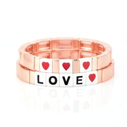 wholesale gold tiles NZ - 2019 Bohemian Rose Gold Stretch Tile Bracelets Love Bracelet For Women Lovers Couple Friendship Charm Beach Jewelry 2019 New