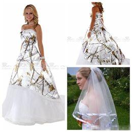 White Wedding Dress Black Veil Australia - Unique Sweetheart Camo Wedding Dresses With Veil White Real Tree A-Line Bridal Gowns Lace Up Back Custom Camouflage Vestidos De Wedding Wear