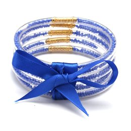 Glitter drops online shopping - Drop blue ALL WEATHER Glitter Silicone Circles Bangles Bracelet Women pure color Bowknot Beads Jelly Prayer gifts