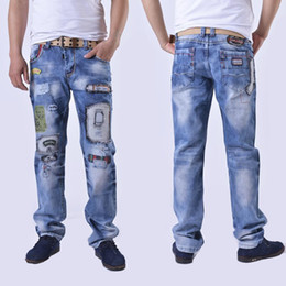 slim tapered jeans NZ - Men's Blue Slim Skinny Fit Distressed Ripped Elastic Tapered Leg Denim Jeans